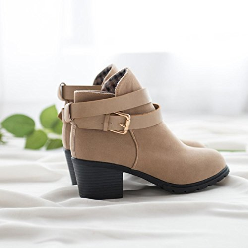 Chunky Women Casual Heel Khaki Amiley Boots Low Boots Trendy Snow Buckle Belt Ankle 5pH1HqW