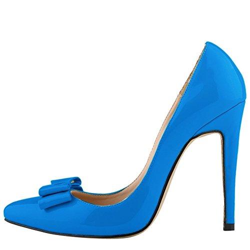 Da Donna Cuspide Cuspidato Con Tacco Alto In Vernice Con Borchie Da Sposa Blu
