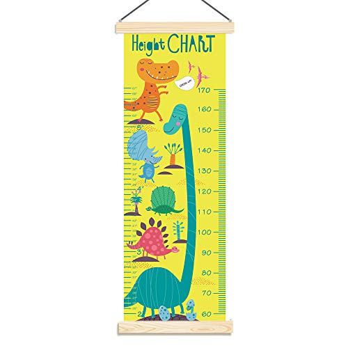 Panda_mall Baby Height Growth Chart Ruler Kids Roll-up Canvas Height Chart Removable Wall Hanging Measurement Chart Wall Decoration with Wood Frame for Boys Girls Kids Room(Dinosaur)