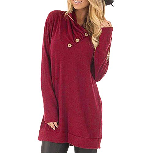 Honhui Women's Long Sleeve Button Cowl Neck Tunic Tops Casual Cosy Pullover Sweatshirt ()