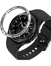AISPORTS Bezel ring kompatibel med Samsung Galaxy Watch 4 Classic 46 mm bezel loop självhäftande fodral anti-repor rostfritt stål metallinfattning skyddsfodral för Samsung Galaxy Watch 4 Classic 46 mm