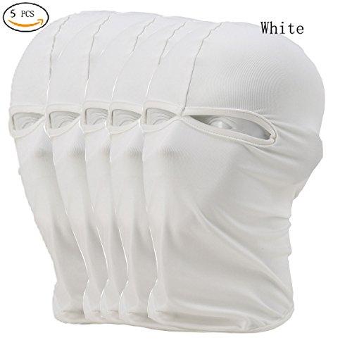 CxYuan 5pcs lots white 2 Holes Unisex Motocycle Cycling Ski Windproof Autumn Full Face Mask Hat Outdoor Sports Cycling Motocycle Lycra Ultra Thin Balaclava Face Mask CS – DiZiSports Store