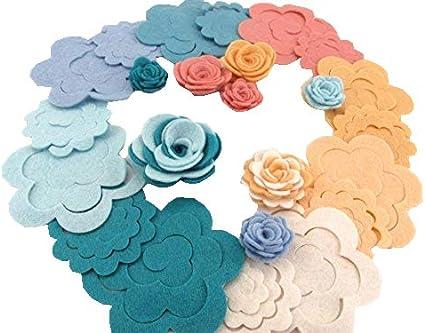 x6 Crochet Flowers BABY Mix Appliqués Button Embellishments Blue Pink /& White