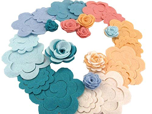 32 Wool Blend Felt 3D Roses Die Cut Applique Flowers - Spring Vacation OTR Felt Made in USA