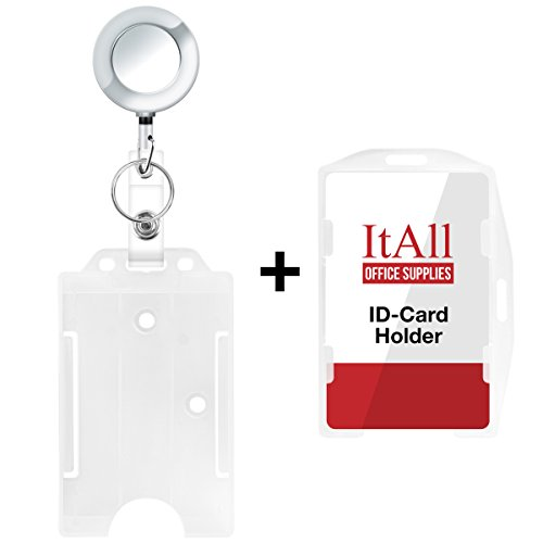 Double Sided Christmas Cards Walmart - ItAll 2 Pack Clear Badge Holder Open Face with Metal Retractable Carabiner Badge Reel, Vertical or Horizontal Hard Rigid Plastic