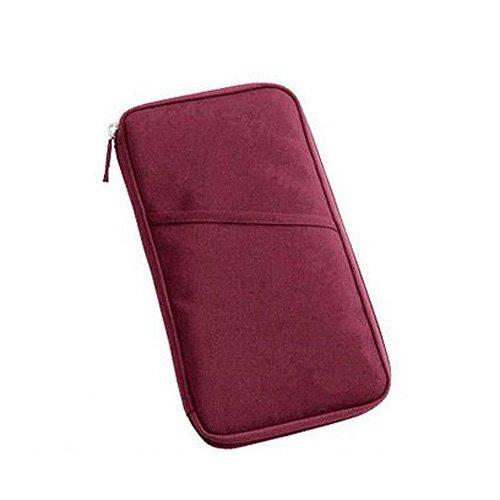 Sonline Borsa borsetta portafoglio da viaggio rosso con chiusura a zip per portare documenti agenda passaporto biglietto