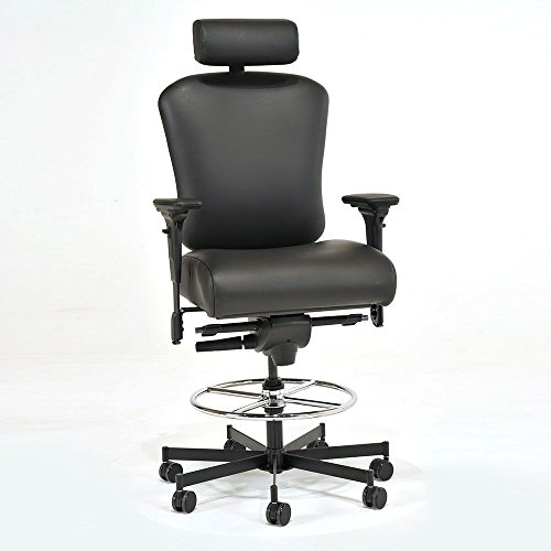(Faux Leather 24/7 Intensive Use Ergonomic Stool with Headrest Dimensions: 21-26