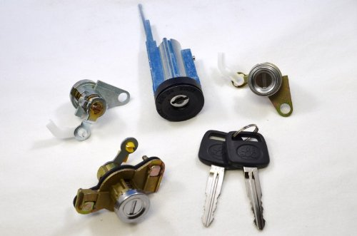 PT Auto Warehouse LS-22 - Ignition, Door, Trunk Lock Cylinders with Keys Set - with Tilted Wheel Only
