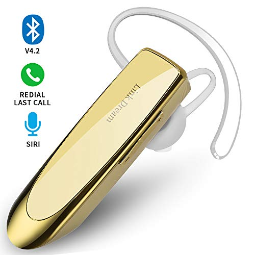 Bluetooth Earpiece- Wireless Bluetooth Headset Noise Cancelling with Mic 24Hrs Talktime Hands-Free 1440Hrs Standby Time Headphones Compatible with iOS/Android Smart Phones, Driver Trucker, Gold