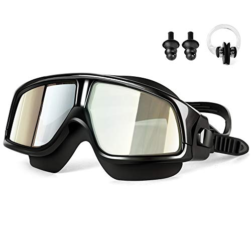 Swim Goggles,Ansteker Swimming Goggles with Ear Plugs and Nose Clip No leaking Anti Fog UV Protection for Adult Kids Men Women Youth Triathlon Black