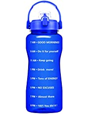 QuiFit 2L Motivational Water Bottle - with Strainer & Time Marker BPA Free 64 Oz Fruit Infuser Water Jug Leak-Proof Durable for Fitness Outdoor Enthusiasts