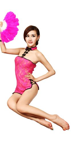 Women's Sexy Lingerie Chinese-style Backless Blet Cheongsam Dress+t-back