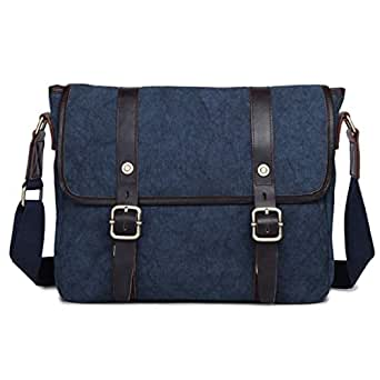 Mens Bag Holder for Man Business Office Canvas Retro European Style Briefcase Shoulder Messenger Crossbody Satchel Casual Bag High capacity (Color : Blue)