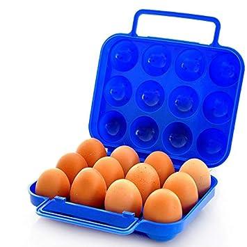 Weimay Caja de huevo portátil plegable caja de huevo de plástico 12 ranuras de huevo para la cocina al aire libre picnic huevos contenedor bandeja de huevo: ...