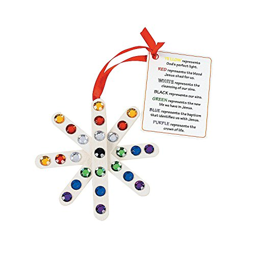 Colors of Faith Craft Stick Snowflake Ornaments with Card Craft Kit by CusCus