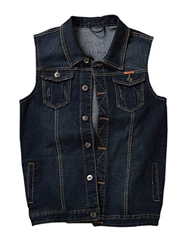 (Gihuo Men's Casual Button Front Denim Trucker Vest Sleeveless Jean Jacket (Dark Blue, X-Large))