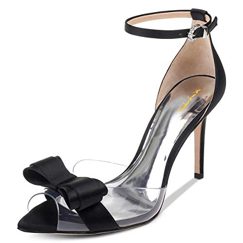 - XYD Women Pointy Peep Toe Stiletto High Heels Ankle Strap Bows Sandals PVC Satin D'Orsay Pumps Size 15 Black