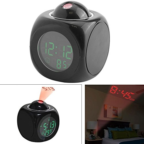 Clock With Projection Display,Digital Projection Alarm Clock LCD Wall Projection Clock with Voice Talking and Temperature Display (Black Font With Random Blue or Green Backlight) by Estink