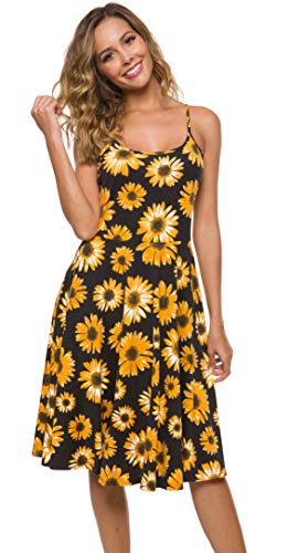 Malist Women's Casual Sleeveless Adjustable Strappy Flared Midi Skater Dress Floral Black X-Large