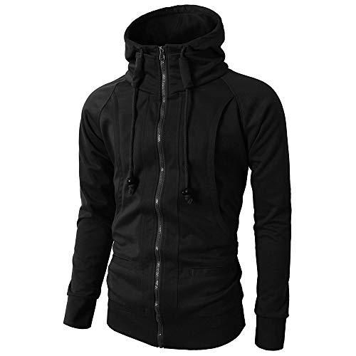 Argyle Thermal - MODOQO Men's Zipper Hoodie Long Sleeve Pullover Jacket Coat for Autumn Winter (Black,L)