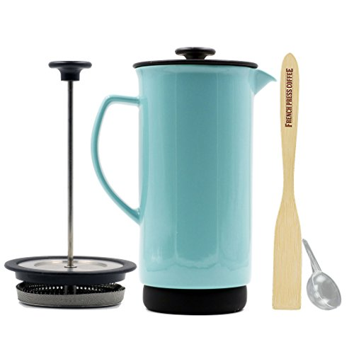 Forlife Ceramic French Press Coffee Maker + Bonus Wooden Spoon (Turquoise, 32 oz)