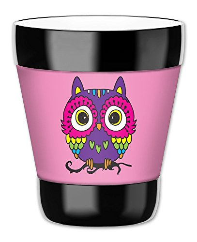 "Mugzie 12-Ounce ""Low Ball"" Tumbler Drink Cup with Removable Insulated Wetsuit Cover - Pink Owl"