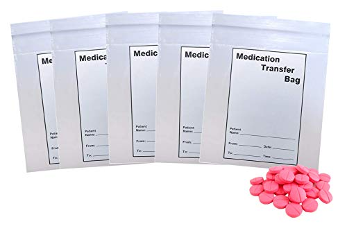APQ Pack of 100 Medication Transfer Bags, Clear 8 x 10. Low Density Polyethylene Bags 8x10. Tamper-evident Plastic Bags 2 mil. Adhesive Tape Closure and Tear line. Ideal for Healthcare Applications.
