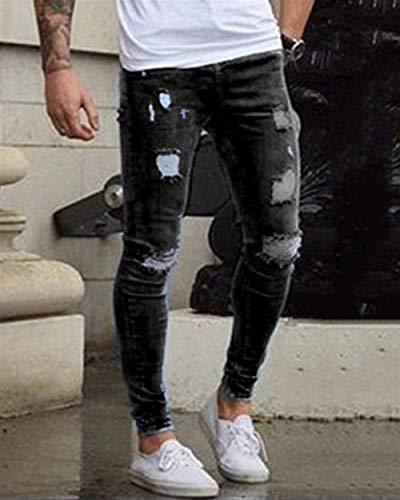 In Pantaloni A Eleganti Ragazzo Denim Di Strappati Stretch Regolari Da Fit Nero Base Matita Slim Jeans Uomo 8q8np4gP