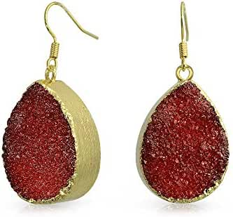 Bling Jewelry Gold Plated Red Dyed Druzy Agate Teardrop Dangle Earrings