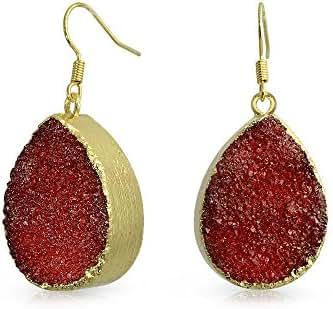 Bling Jewelry Yellow Gold Plated Druzy Agate Teardrop Dangle Earrings