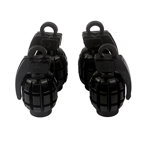 Senzeal 4x Aluminum Grenade Bomb Style Universal Car Truck Motocycle Wheel Tyre Valve Caps Bicycle Tire Air Valve Cover (Style Car Truck)