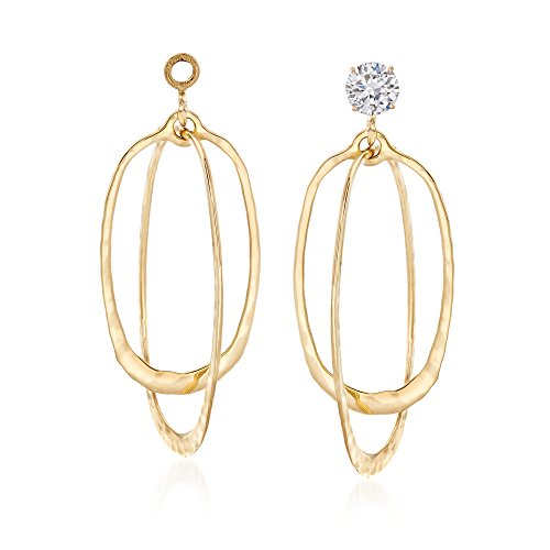 - Ross-Simons 14kt Yellow Gold Hammered and Polished Double Oval Drop Earring Jackets