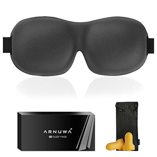 Premium Mask - 3D Sleep Mask - Upgraded Contoured Comfortable Light Blocking Eye Mask for Sleeping with Premium Earplugs - Best Eyeshade for Woman Men, Dark Gray (1 Pack)