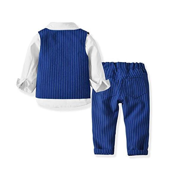 Zoerea 3 Pezzi Bambini Ragazzi Abbigliamento Set Camicia con Papillon+Gilet+Pantaloni, Bambino Ragazzo Gentleman Nozze… 2