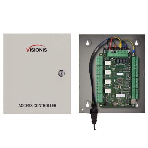 (Visionis VS-AXESS-4ETL Four Door Network Access Control Panel Controller Board with Cabinet TCP IP Wiegand with Desktop Software and Power Supply Included 10,000 Users)