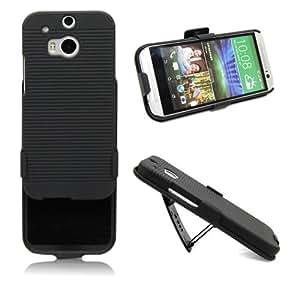 DEALPEAK Black Hard Case Stand Belt Clip Cover Holster Shell for HTC One 2 M8