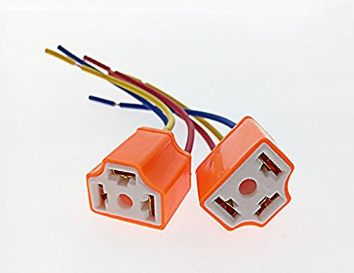 ZYHW 2 x H4 9003 Ceramic Wire Wiring Harness Sockets for Car (Car Headlight Wiring)