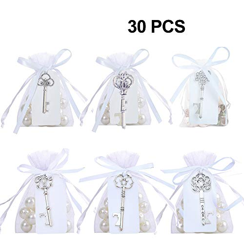 Awtlife 30 Pcs Silver Rustic Vintage Key Bottle Opener with Sheer Bag Card Tag for Wedding Favors Party Decor 6 Style