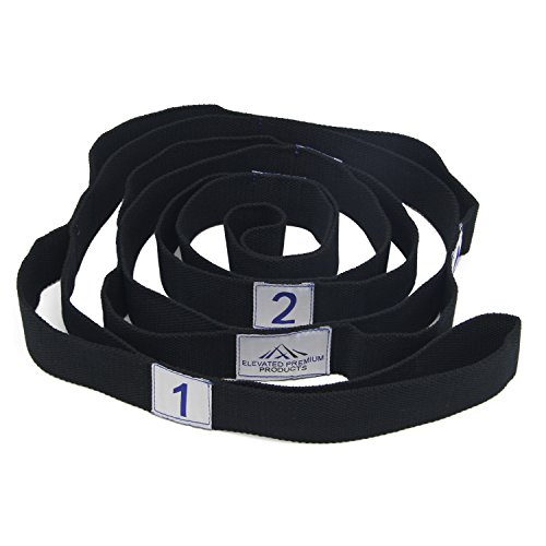 12' Ball Joint (Yoga Strap: Lightweight, Flexible, Cotton. Stretching strap with multiple cleaver loops for easy grip, perfect for your physical therapy needs. Carry bag and detailed stretches included.)