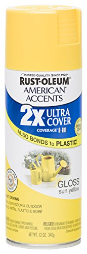 Rust Oleum 280699 American Accents Ultra Cover 2X Spray Paint,  Gloss Sun Yellow, -