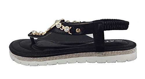 Aisun Femmes Boho T Sangle Slip Sur Clip Toe Plate Tongs Sandales Plage Chaussures Noir