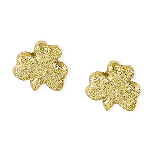 Claire's Accessories Girls St. Patrick's Day Gold Glitter Shamrock Stud Earrings