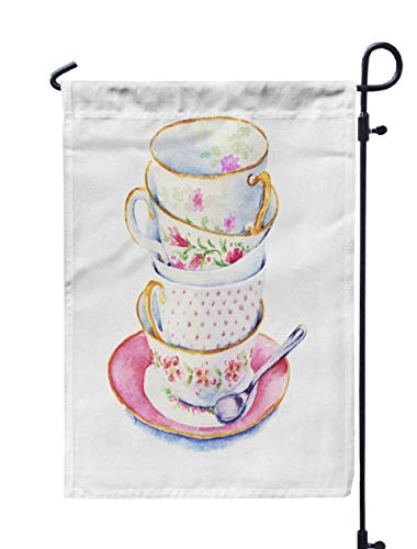 Shorping Welcome Garden Flag, 12x18Inch Time to Drink Tea Bunch Cups in The Saucer Spoon Elements Menu Cards Watercolor Style Country for Holiday and Seasonal Double-Sided Printing Yards Flags]()