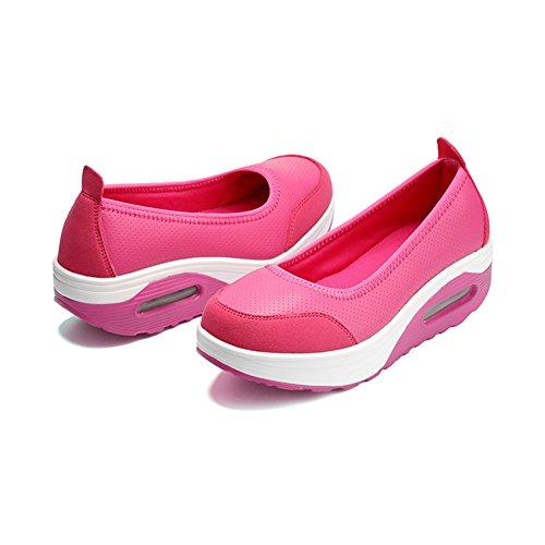 Color Negro Zapatillas Mujer Transpirables sin de 39 Calzado Plataforma Cordones y con de con Fitness Zapatillas comprimido tamaño para y Aire Rosado agitación ggAUqH
