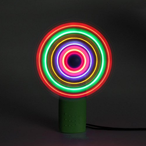 Gbell Kids Portable Cool LED Glowing Fan - Educational Toys Party Toy Gift for Kids Toddlers Boys Girls (Green)