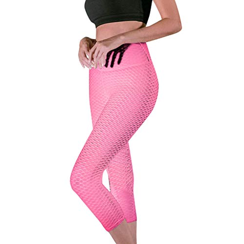(Women's High Waist Yoga Pants Tummy Control Workout Ruched Butt Lifting Stretchy Leggings Textured Booty Tights Pink)