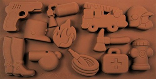 (Police & Fire Things 12 Cavity Silicone Mold for Fondant, Gp, Chocolate, Crafts)