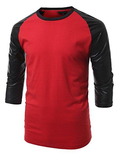 URBANCREWS Mens Hipster Hip Hop Raglan 3/4 PU Sleeves Shirt REDBLACK MEDIUM