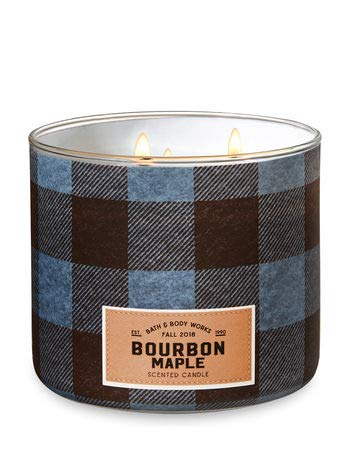 - Bath and Body Works White Barn Bourbon Maple 3 Wick Candle Blue Brown Denim Plaid Look 14.5 Ounce