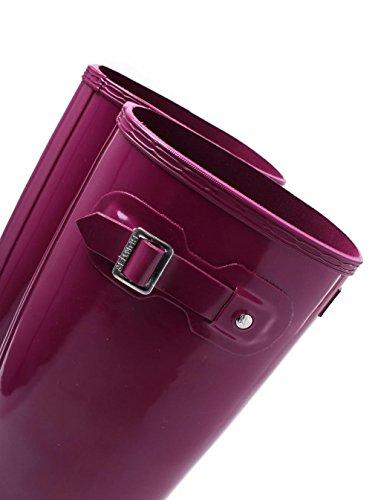 Hunter Damen Original Tall Regen Boot, Schwarz Glanz, 8 B (M) US Violett